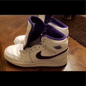 Air Jordan white/ purple sneakers